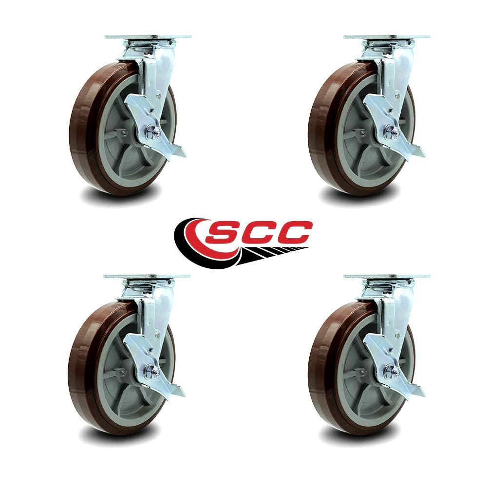 Service Caster - 8'' Heavy Duty Polyurethane Wheel Swivel Casters w/Top Locking Brakes - Non Marking - 800lbs/caster - Set of 4