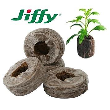 MULTIHOBBIE® 50 UNIDADES JIFFY-7 24MM TACO TURBA PRENSADA SEMILLAS Y ESQUEJES JIFFY GERMINAR: Amazon.es: Jardín