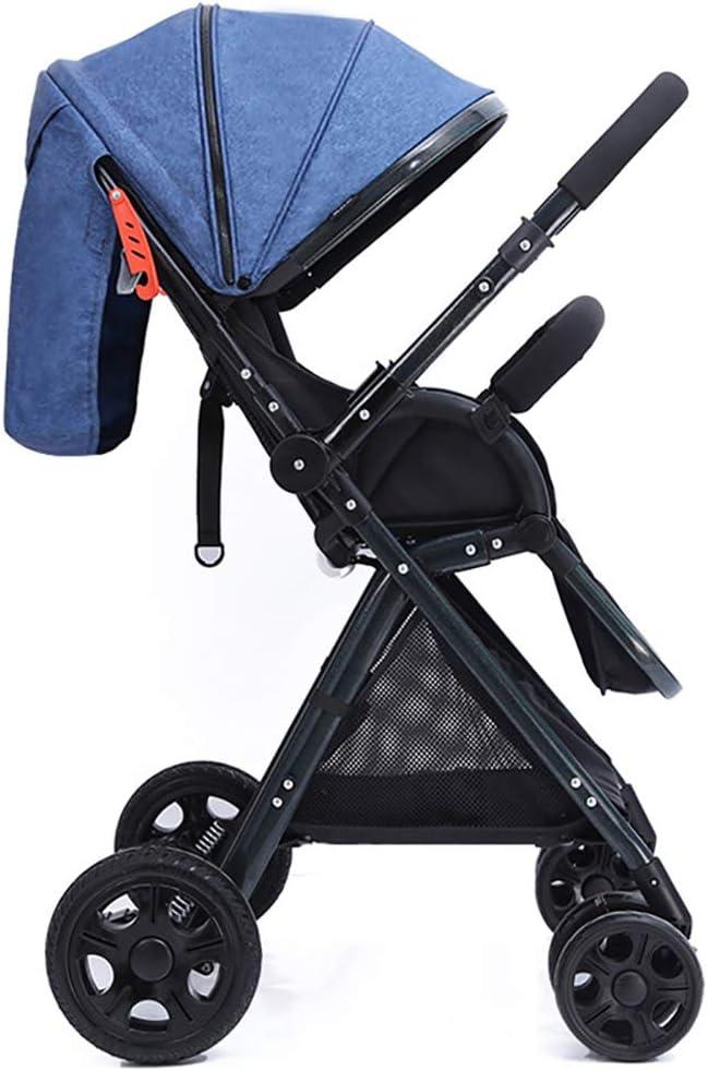 強い超軽量ポータブルショックプルーフベビーキャリッジ、新生児用折りたたみ式ハイビュートラベルシステム、ベビーカー乳母車滑り止めホイールベビーカー 子供向け, blue