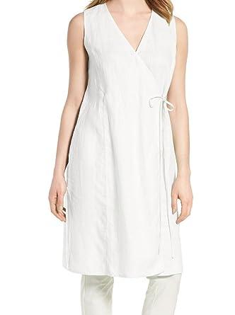 7662d1a97e86f8 Eileen Fisher Womens Linen V-Neck Wrap Top White L at Amazon Women s ...
