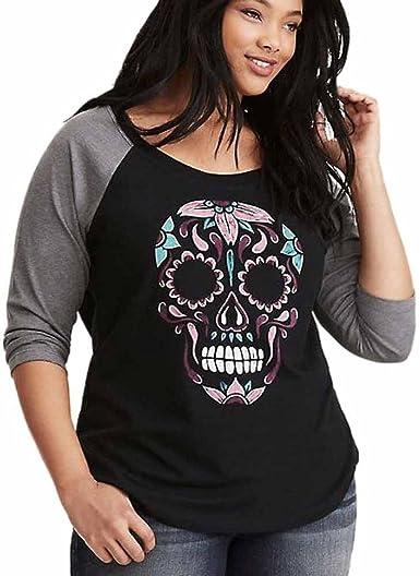 Camisa de Mujer de Ronamick con Estampado de Calavera, túnica, Parte Superior Grande Estampada, Cuello Redondo, Camiseta de béisbol, Informal, Estampada: Amazon.es: Iluminación