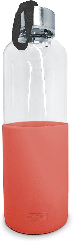 NERTHUS FIH 405 Botella de Cristal 600ml, Antideslizante Silicona, Color Coral 0,6 litros, Vidrio