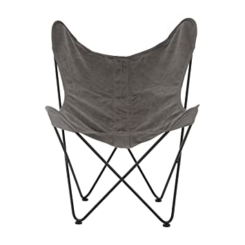 Ultimatesalestore Steel Frame Papillon Outdoor Butterfly Chair Grey Canvas  Ideal Beach