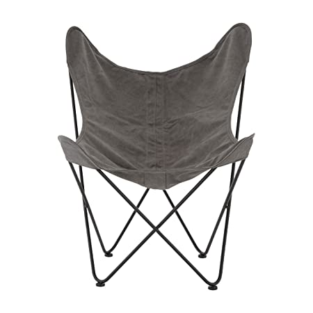 Steel Frame Papillon Outdoor Butterfly Chair With Grey Canvas Ideal For  Beach