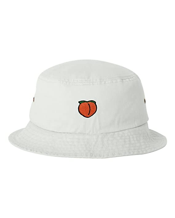 4e0d7d57ab410 Amazon.com  One Size Black Adult Peach Emoji Embroidered Bucket Cap Dad Hat   Clothing