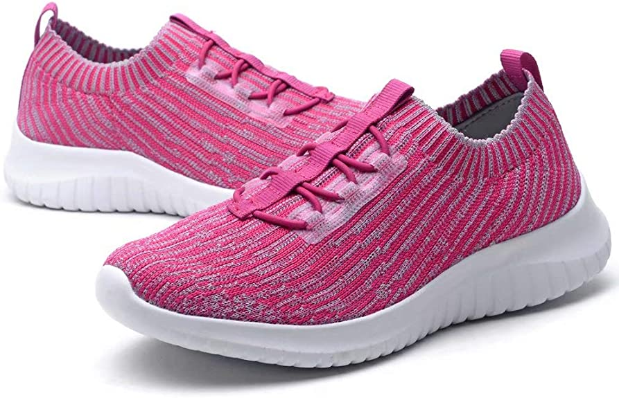 LANCROP Women's Athletic Walking Shoes - Casual Knit Lightweight Running Slip On Sneakers 5 US, Label 35 Blue