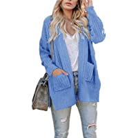 Ivay Womens Plus Size Chunky Cardigan Sweaters Long Sleeve Knitted Open Front Fall Coats with Pockets
