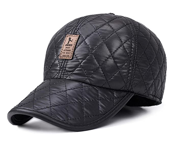 Elwow Men s Lightweight Warm Breathable Earflap Baseball Cap Trucker Golf  Hat (Black) 4d385550865