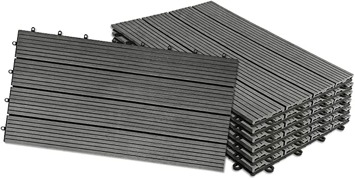 HENGMEI Set de 12 (2m²) Baldosas para Suelos Baldosas 30x60cm WPC Terraza losetas de jardín interior y exterior, Antracita: Amazon.es: Bricolaje y herramientas