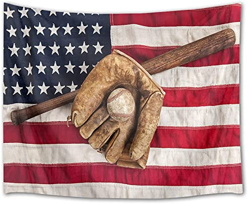 HVEST Sport Tapestry Baseball Glove and Bat Wall Hanging American Flag Wall Tapestry for Bedroom Living Room Dorm Party Wall Decor,92.5Wx70.9H inches