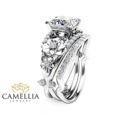 Amazon Com Princess Cut Moissanite Engagement Ring Set Floral 14k