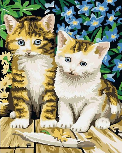 Drawing your painting, paint by number Two lovely cats 16