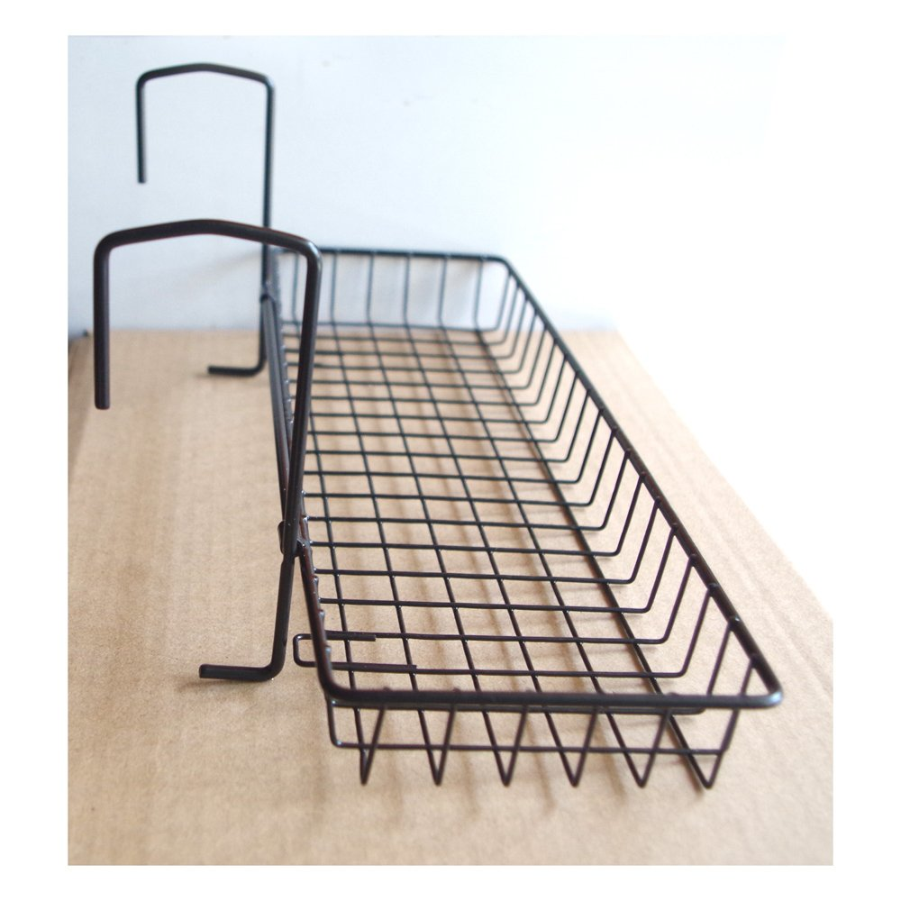 Office Partition Metal Iron Wire Storage Rack Desktop Save Space Rectangle Succulent Flower Pots Universal Bracket (Black MESH)