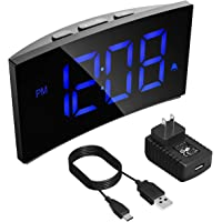 Alarm Clocks, PICTEK Digital Alarm Clock with 5-inch Dimmable LED Curved Screen, Kids Clock Digital Timer Basic Digital Clock with Snooze Function, 12/24 Hour and 3 Alarm Sounds for Bedroom Livingroom Office (Adapter Included)