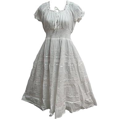 759c295af5e5 Yoga Trendz Indian Cotton Smocked Peasant Gypsy Boho Renaissance Dress  (White)