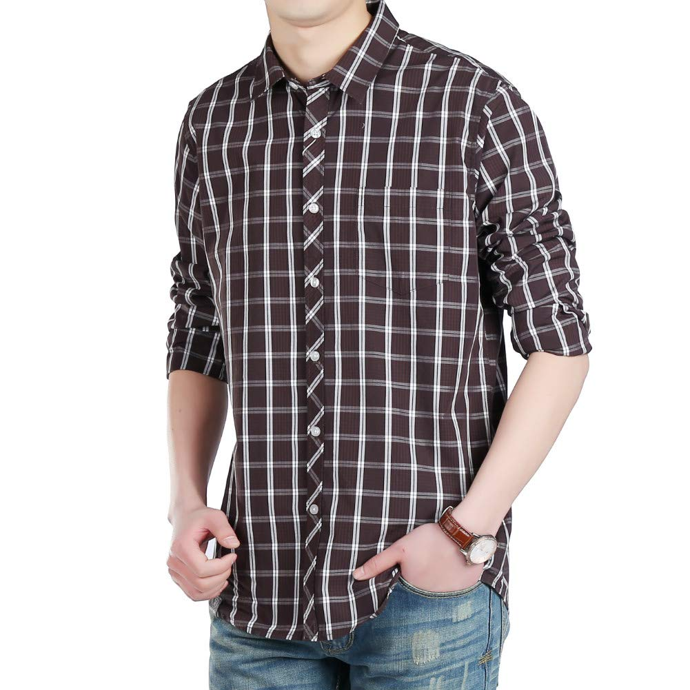 Mens Button Down Long Sleeve Plaid Flannel Shirt