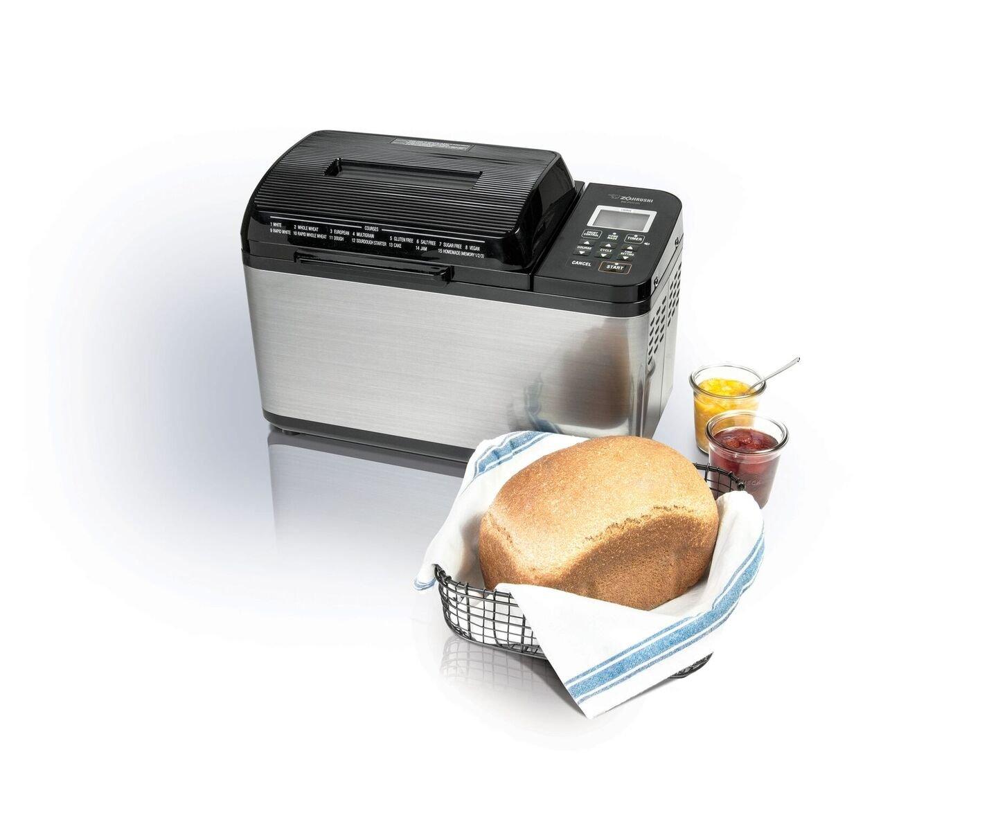 Zojirushi BB-PDC20BA Home Bakery Virtuoso Plus Breadmaker, 2 lb. loaf of bread, Stainless Steel/Black by Zojirushi