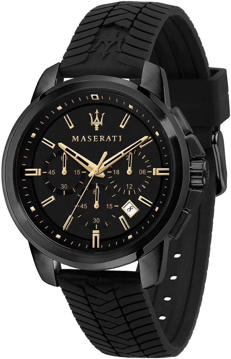 Maserati Reloj para Hombre, Colección Successo, en Acero Inoxidable, Silicona, con Correa de Silicona - R8871621011