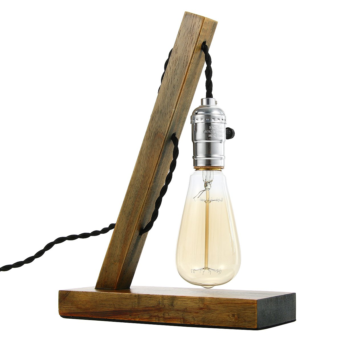 edison table lamp vintage home lighting. Amazon.com: Loft Retro Wood E27 Edison Table Lamp With Incandescent Bulb Cafe Home Bar Decoration: Improvement Vintage Lighting B