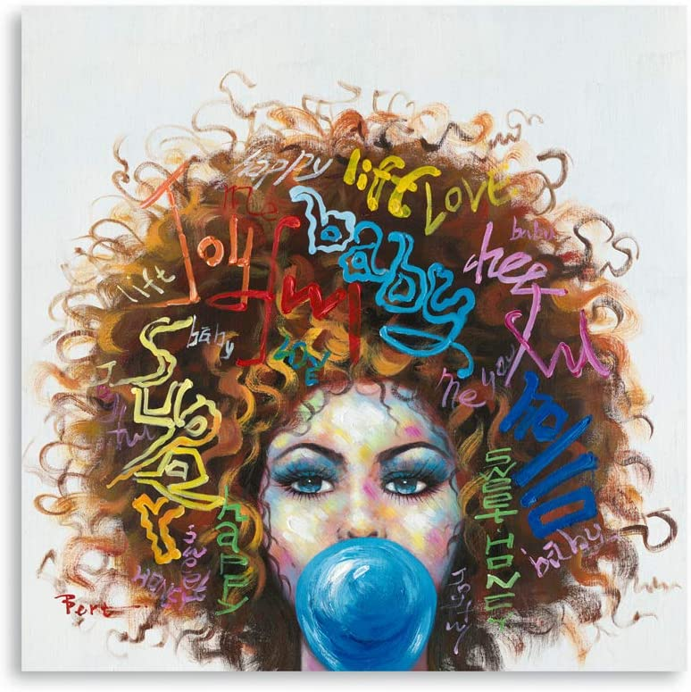 "B BLINGBLING 24""x24"" African American Black Girl Canvas Print Pictures, Graffiti Style Afro Woman Wall Art Framed Pop Art for Livingroom Bathroom Girls Bedroom Decor"