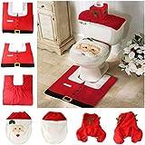 Copri water natalizio con babbo natale set con tappeto e copri cassetta wc - da regalo