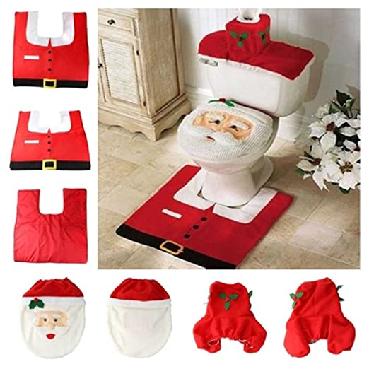 EBASE Santa Toilet Seat Cover Rug Tissue Box Bathroom Set For Christmas Decoration Amazoncouk Kitchen Home
