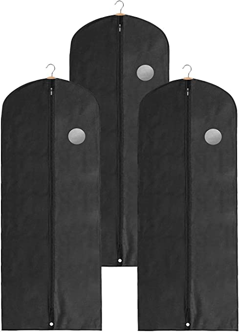 Clay Roberts Long Garment Bags, Dress Covers, Pack of 3, Clothing Travel and Storage Bag, Breathable Fabric