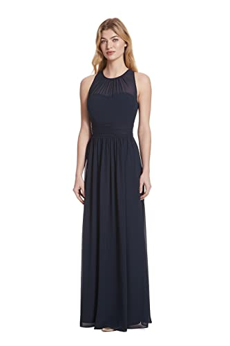 Samantha Paige Bateau Neckline Illusion Detail Pleated A-Line Chiffon Formal Dress