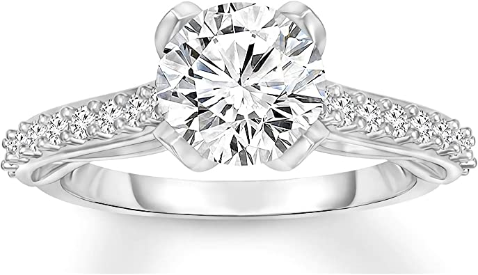 Halo Moissanite Ring For Wedding 1.25 Ct Cushion Cut Colorless Moissanite Engagement Ring 14K White Gold Ring Simulated Diamond Ring Gift