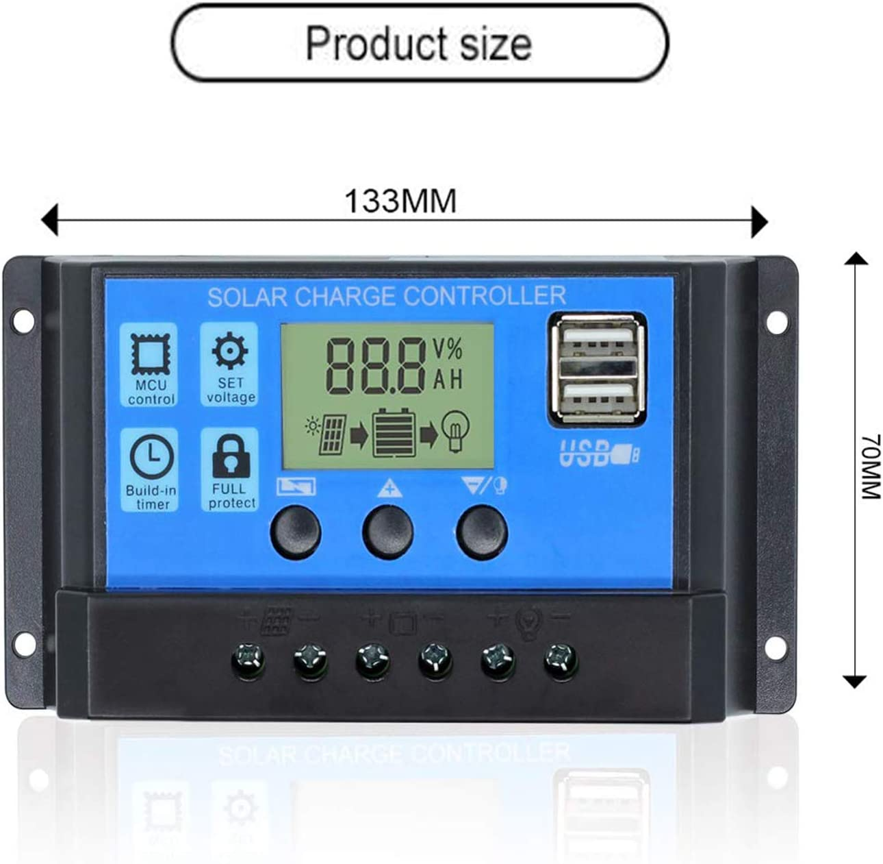 30A Solar Charge Controller, Solar Panel Charge Controller 12V 24V Dual USB Charge Regulator Intelligent, Adjustable Parameter Backlight LCD Display and Timer Setting ON/Off Hours (30A) : Garden & Outdoor