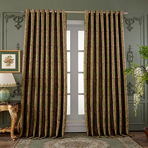 Cheap 42″ Wx84″ L (Set of 1 panel) 20 size available Custom Country Rustic Jacquard Paisley Grommet Top Energy Efficient Window Treatment Draperies & Curtains Panels¡­