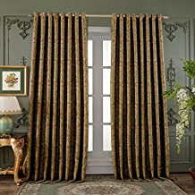 "72""W x 96""L (Set of 2 panels) Multi Size Available Custom Country Rustic Jacquard Paisley Grommet Top Energy Efficient Window Treatment Draperies & Curtains Panels"