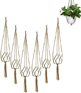 Plant Hanger, Flower Pot Hanging Basket Net Bag, 6pcs Plant Support, Hanging Basket, Macrame Plant Holder Hemp Rope, Plant Hangers Outdoor and Indoor Garden Home Decorations
