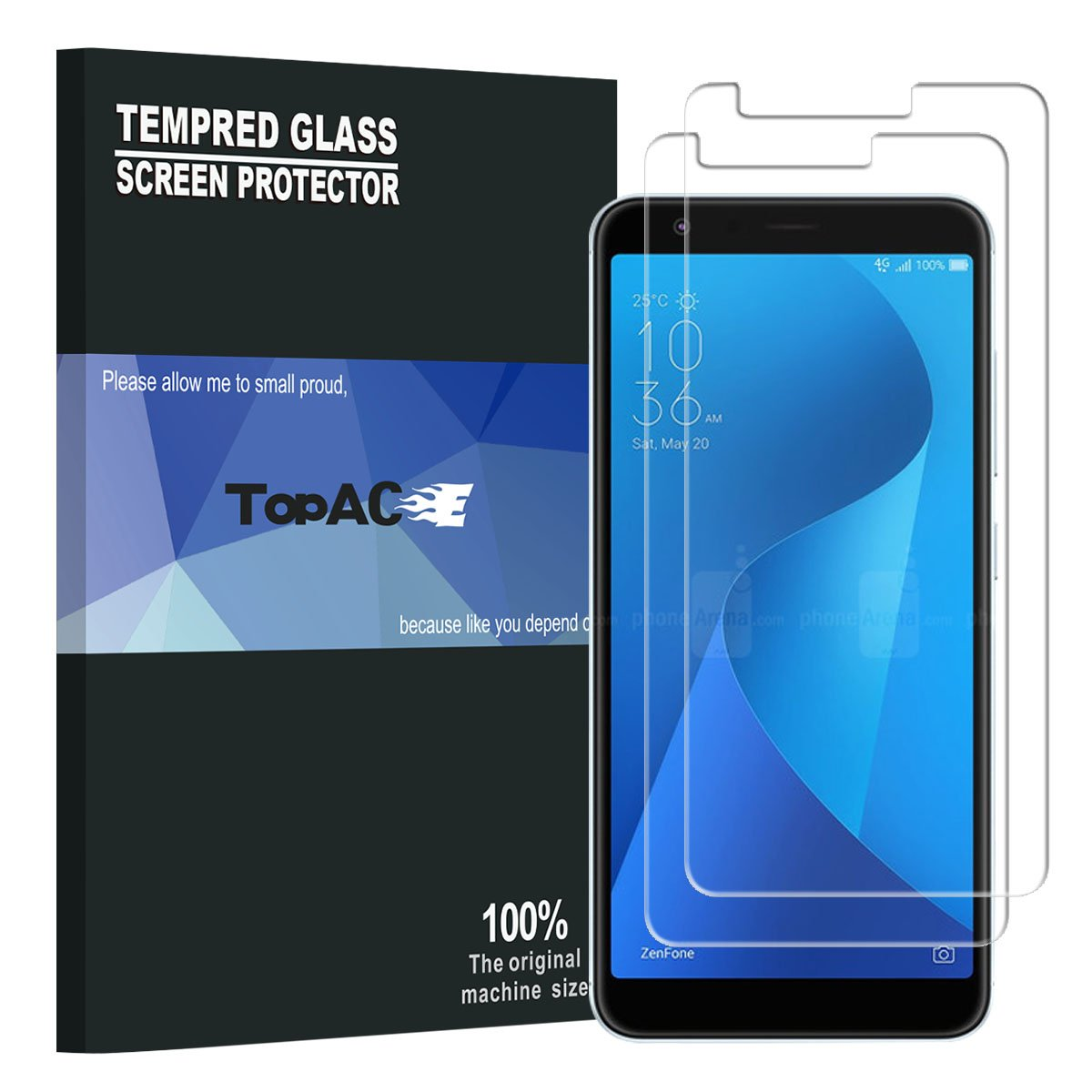 ASUS ZenFone Max Plus ZB570TL Screen Protector, TopACE Premium Quality Tempered Glass 0.3mm Film Asus ZenFone Max Plus (M1) ZB570TL (2 Pack) TopACE.US 4335018550