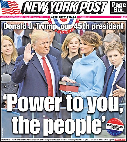 """NEW YORK POST 1/21/2017 DONALD TRUMP INAUGURATION EDITION-""""POWER TO THE PEOPLE"""""""