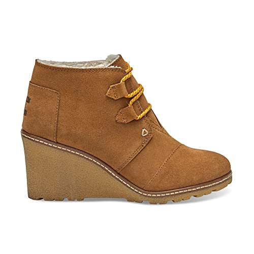 d876c5a3211 Toms Women s Desert Wedge High Boot Wheat Suede shearling faux Crepe Wedge  9.5 B