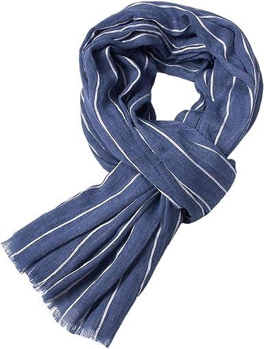 Boomly Bufanda De Punto Hombre Larga Bufanda Caliente Hombre Rayas Borla Algodón Bufanda Abrigo Del Mantón 100 * 190 cm (Azul, 100 * 190CM): Amazon.es: Ropa y accesorios