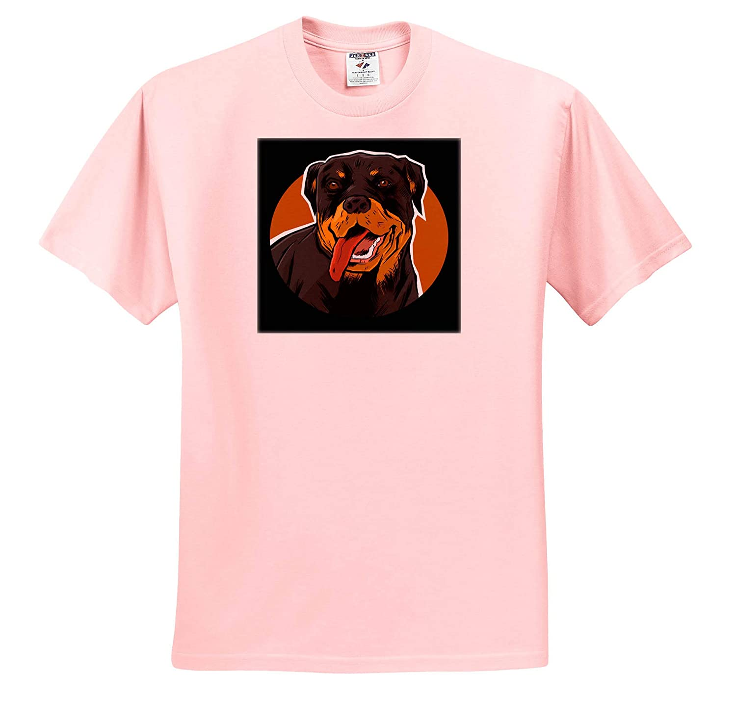 Illustration Art of Rottweiler Dog Portrait Doggy Pet 3dRose Sven Herkenrath Dog Adult T-Shirt XL ts/_309962