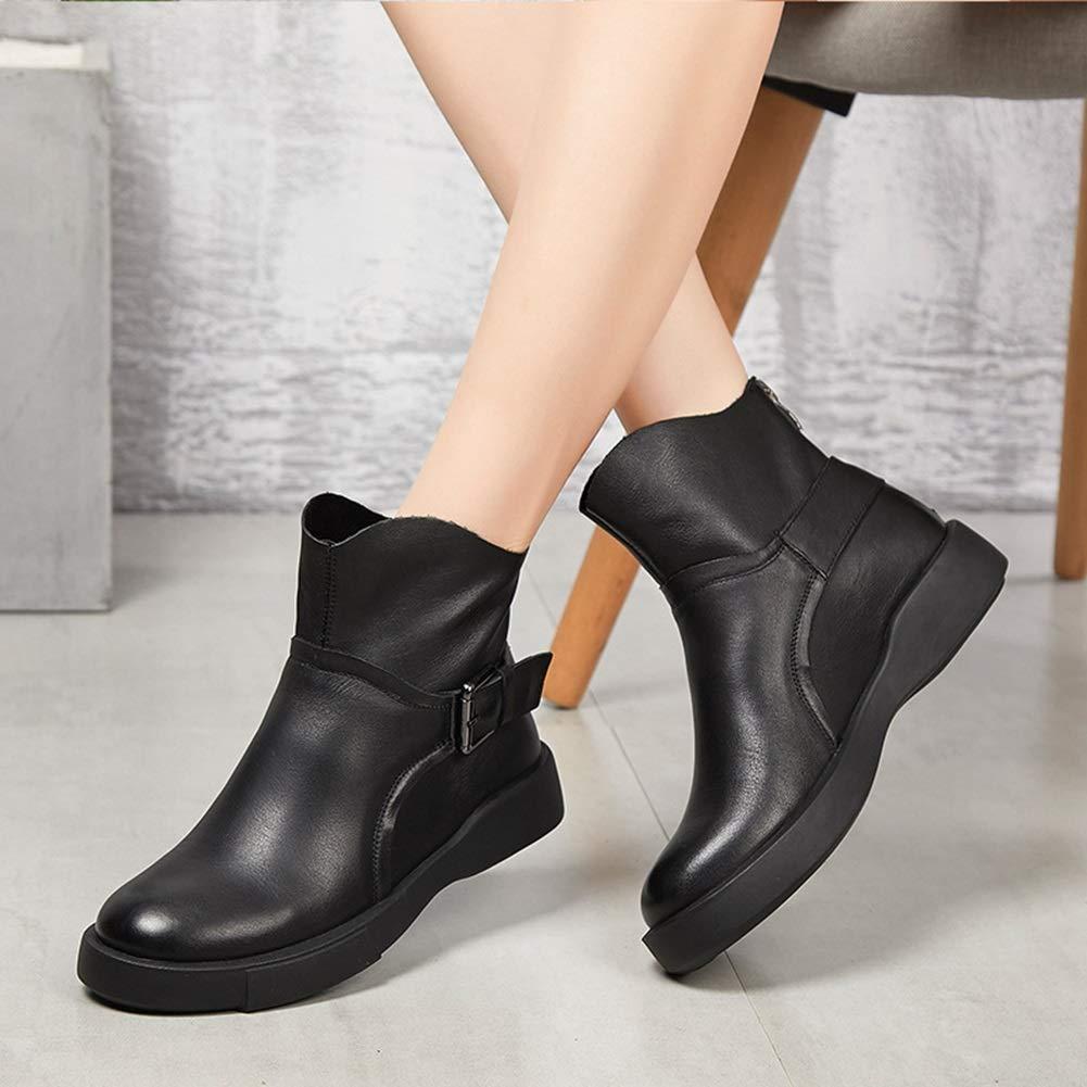 Casual Damen Dicke Leder Stiefel, Stiefelies Herbst Winter Dicke Damen untere Keil Leder Stiefel (Farbe   B, Größe   38) bfa489