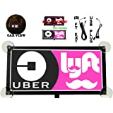 Uber Lyft Glow Driver Sign Logo Lit (SUCTION CUPS)(2 DAYS DELIVERY)