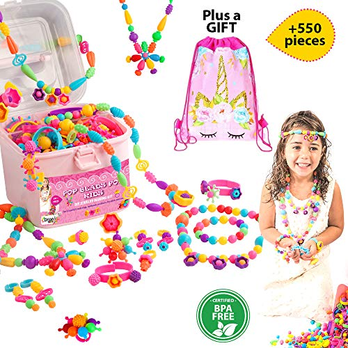 Orian Pop Beads for Kids, 550+ Piece Set, DIY Jewelry Making Kit for Girls Ages 3 and Up, Fun and Colorful Snap System, Create Rings, Bracelets, Necklaces, and Great Colorful Unicorn Gift Bag