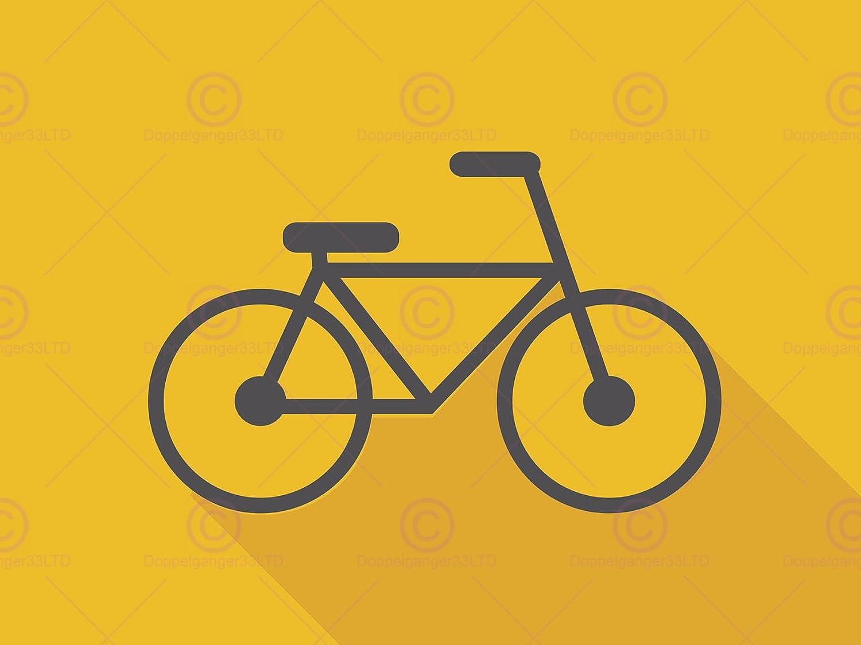 Doppelganger33 LTD Painting Drawing Design Bike Bicycle Wheels Yellow Art Large Art Print Poster Wall Decor 18x24 inch