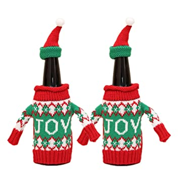 Amazon Sweater Wine Bottle Cover 2 Pcs Christmas Pattern