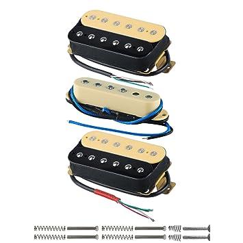 FLEOR guitarra pastillas HSH Guitarra eléctrica pastillas pastillas Humbucker Set, Zebra/Cream/Zebra