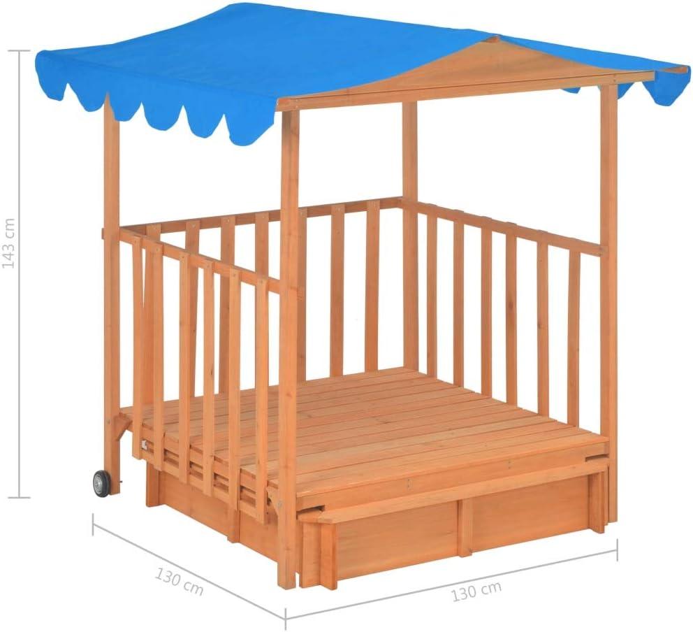 Tidyard Outdoor Kids Playhouse Wooden Veranda Playhouse with Sandbox and Wheels UV50