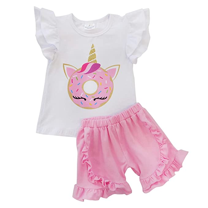 63eb096670 So Sydney Girls Toddler Sequin or Ruffle Novelty Summer Pool Beach Vacation  Shorts Outfit
