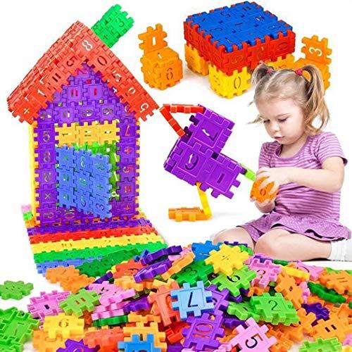 Idomeo Kids Building Blocks Toys, 16 Blocks Building Set Toy Kids Educational Game Cartoon Number Pattern Activity Play Centers