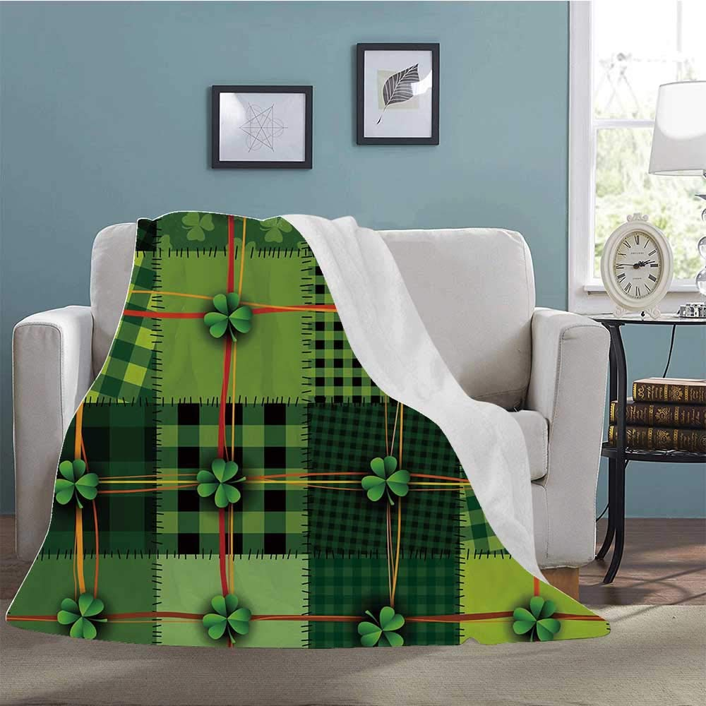 "YOLIYANA Irish Soft Print Blanket,Patchwork Style St. Patricks Day Themed Celtic Quilt Cultural Checkered with Clovers Decorative for Living Room,39"" W x 49"" L"