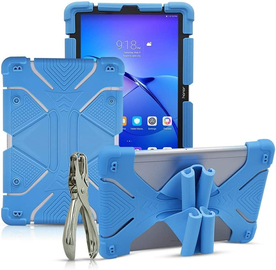 """Golden Sheeps Shockproof Silicone Protective Stand Universal 10 inch Tablet Case Compatible for Apple iPad Pro 11-inch,New iPad 2018, Lenovo Tab 4, 10.1"""",Samsung Tab S4 10.5"""", Tab A 10.5""""-Blue"""