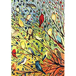 Toland Home Garden Tree Birds 28 x 40 Inch Decorative Colorful Summer Fall Autumn Bird Collage House Flag